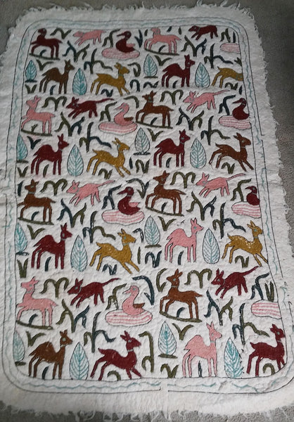 "Handmade Wool Rug with Animal Figures 69 "" x 47"""