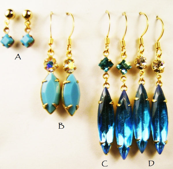 Vintage Design Drop Earrings - Turquoise or Blue Zircon Swarovski - December Birthstone - with gift box