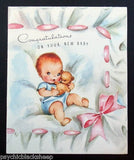 Baby Announcement Card - Emebellished with soft iridescent glitter - Set of 6
