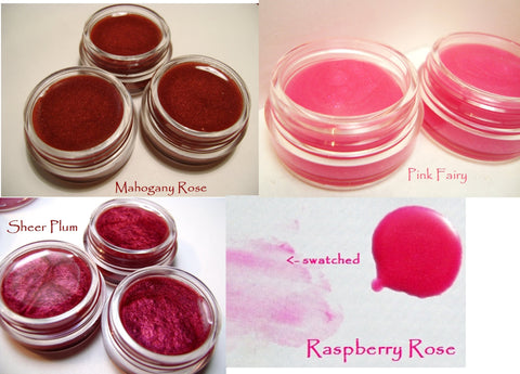 Sheer Lip Tints Pink to Burgundy - Mineral color lip balms