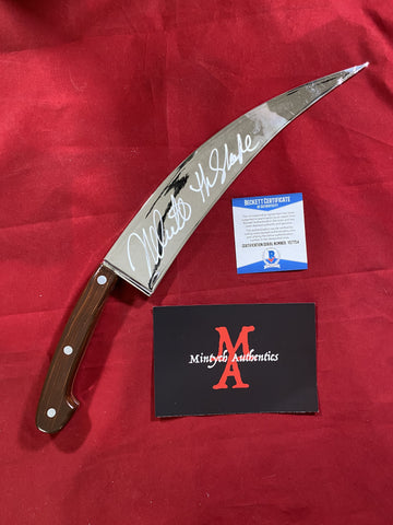 CASTLE_037 - Halloween Poster Trick Or Treat Studios Knife Autographed By Nick Castle