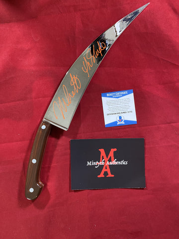 CASTLE_038 - Halloween Poster Trick Or Treat Studios Knife Autographed By Nick Castle