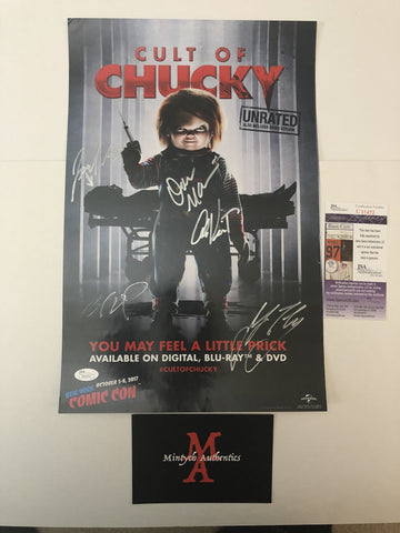 CULT_01 - 12x18 Photo Autographed By Brad Dourif, Jennifer Tilly, Fionna Dourif, Alex Vincent & 1 Other Cult of Chucky Cast