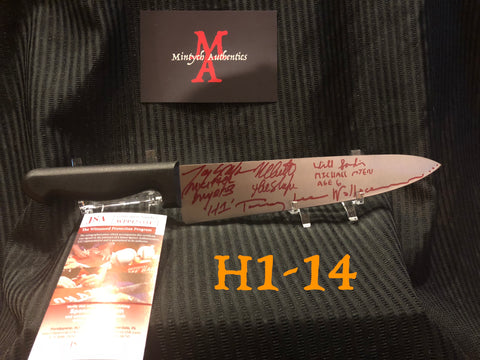 "H1_14 - 10"" Knife Autographed By 4 Michael Myers"