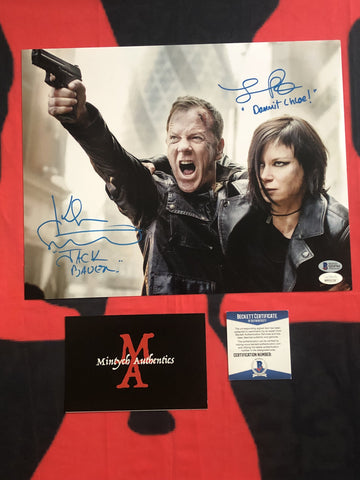 KS_23D - 11x14 Photo Autographed By Kiefer Sutherland & Mary Lynn Rajskub