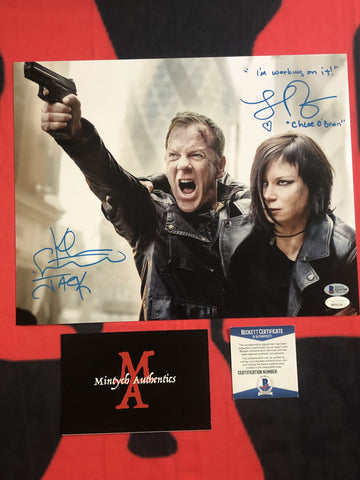 KS_25D - 11x14 Photo Autographed By Kiefer Sutherland & Mary Lynn Rajskub