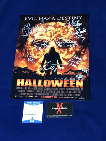RZH_005 - 11x14 Photo Autographed By Seven Halloween Cast Members