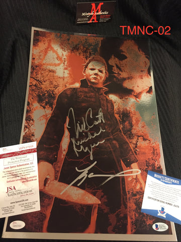 TMNC_02 - 11x17 Foil Photo Autographed By Nick Castle & Tyler Mane