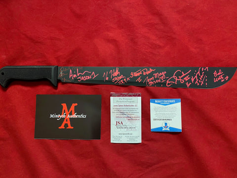 "VOORHEES_008 - 18"" Black Steel Machete Autographed By 8 Jason Voorhees Actors"