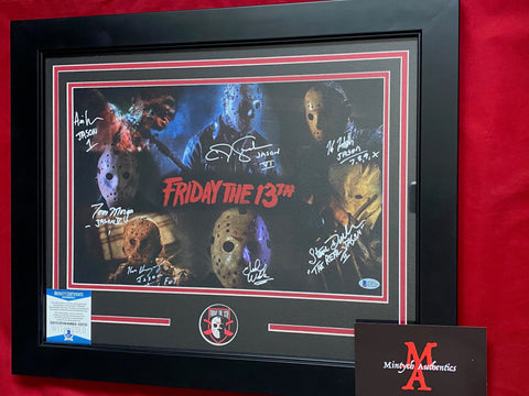 VOORHEES_022 - 11x17 Framed Photo Autographed By 7 Jason Voorhees Actors