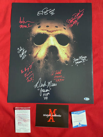 VOORHEES_024 - 16x20 Photo Autographed By 8 Jason Voorhees Actors