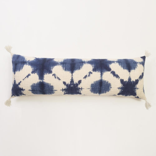 Extra long lumber pillow for bed in shibori blue tie dye pattern with corner tassels bolster pillow Amity Home Grady