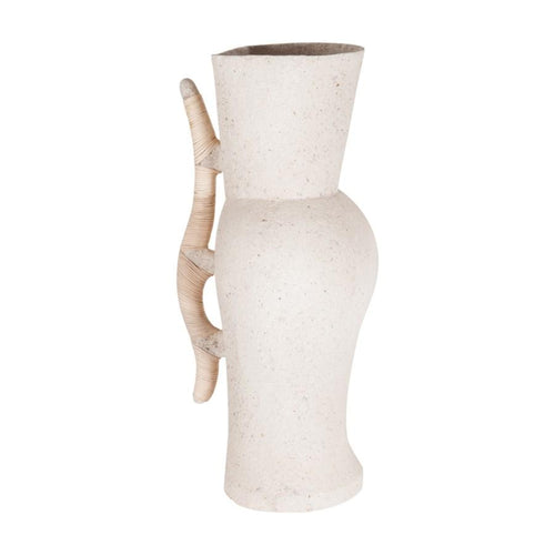 Large Neutral Arya Vase with Rattan Wrapped Handle