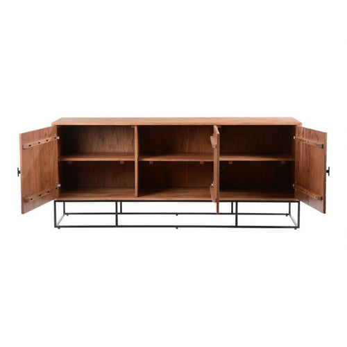 Atelier Sideboard moes home collection natural acacia wood with iron legs and bamboo texture carved pattern