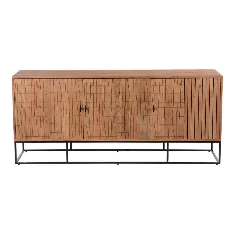 Atelier Cabinet moes home collection natural acacia wood with iron legs and bamboo texture carved pattern