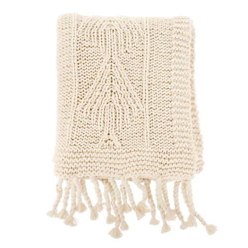Beatrix Knit Natural Throw