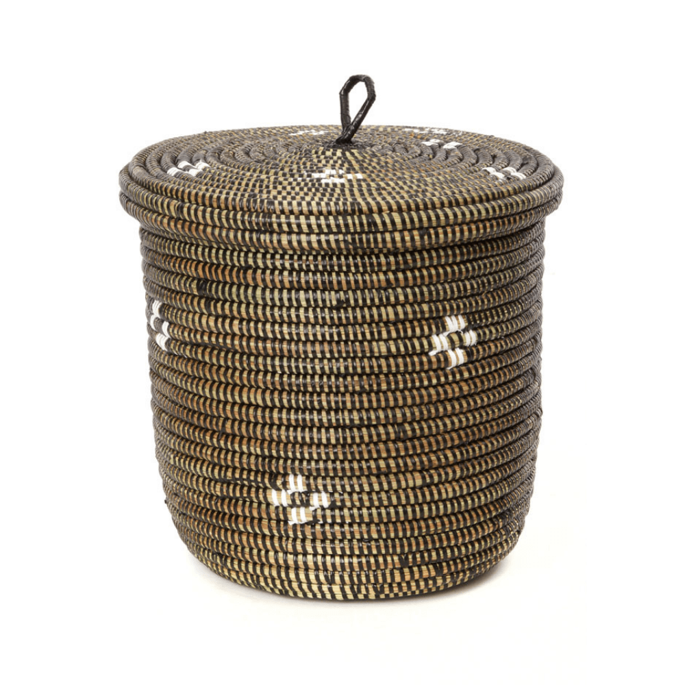 Small woven lidded storage basket for home decor