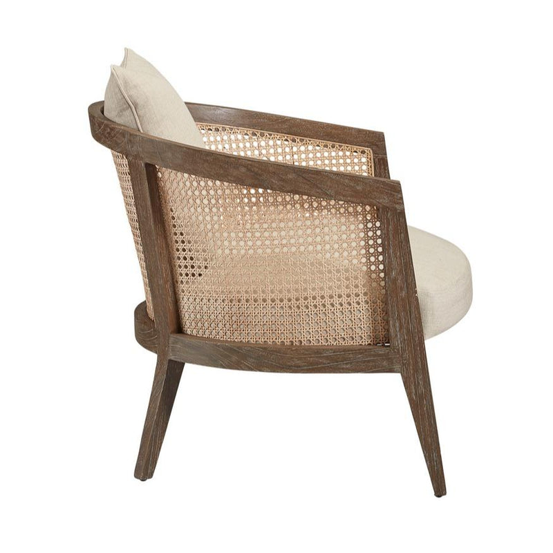 Barrel Chair with natural woven cane and wood frame with linen upholstery