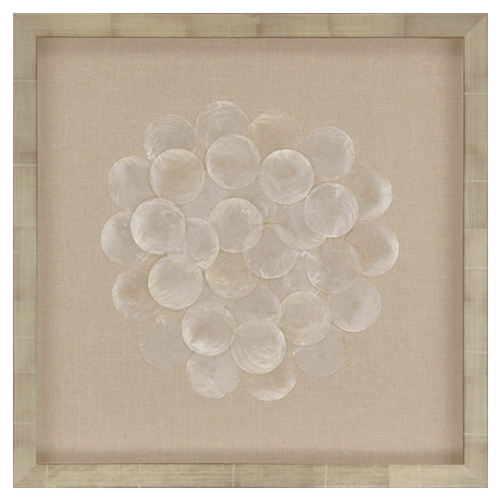 Capiz Swirl Paragon 3761 Shell on Linen Framed Wall Art