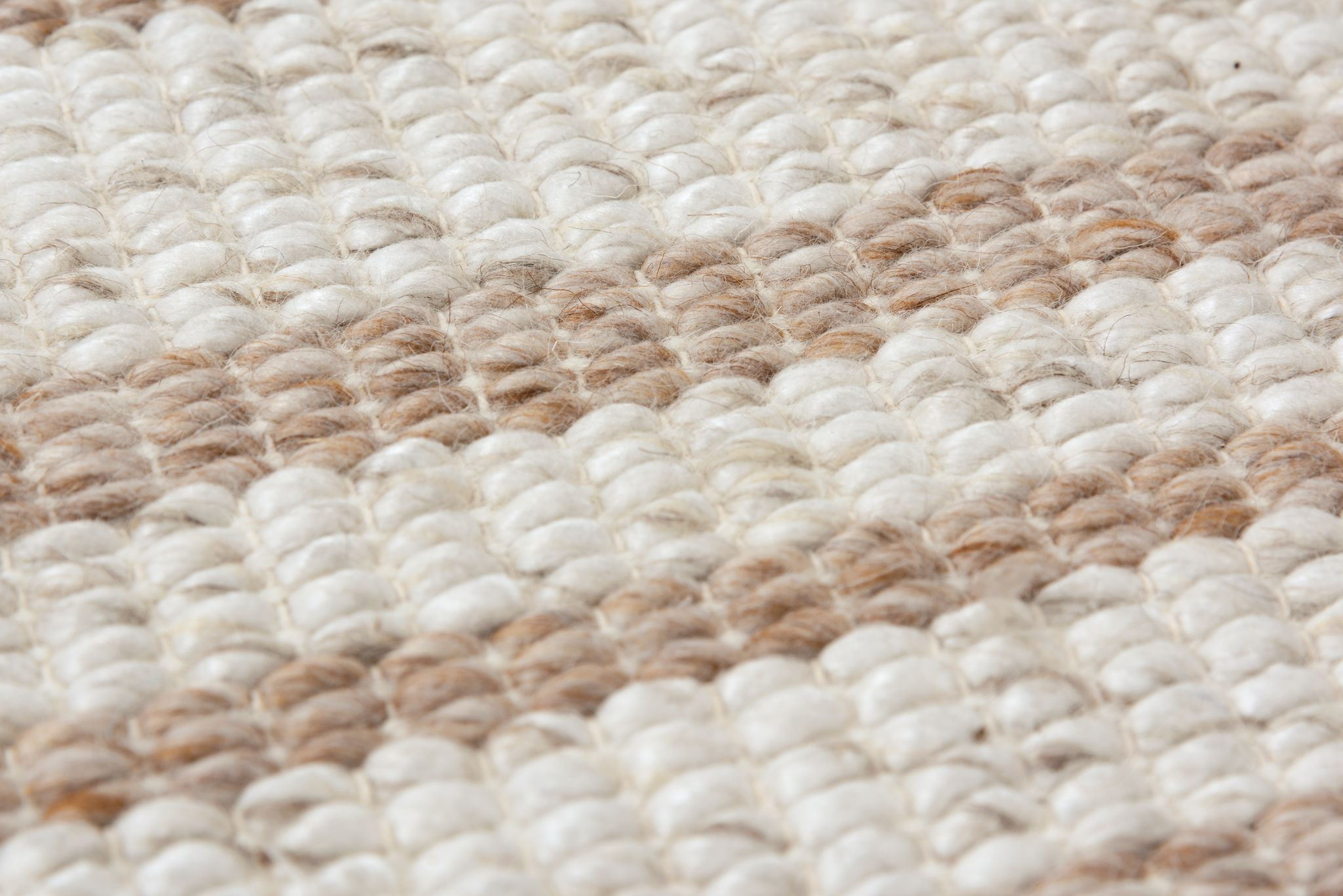 Capri Rizzy Home CPI106 taupe natural beige neutral light brown stripe area rug woven with fringe edge wool braided full