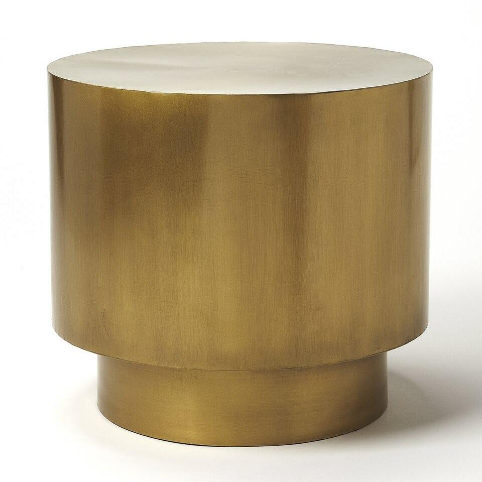 Round Gold Modern End Table