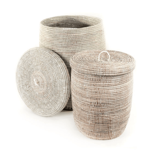 White and Natural Handwoven African Lidded Basket Set