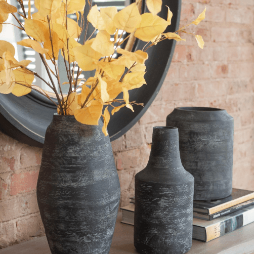 Charcoal Black Vases Modern Gray Wood Grain Narrow Opening