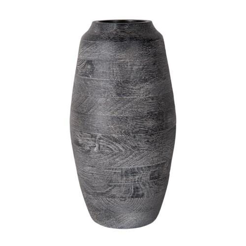 Large Black Charcoal Wood Grain Vase 15""