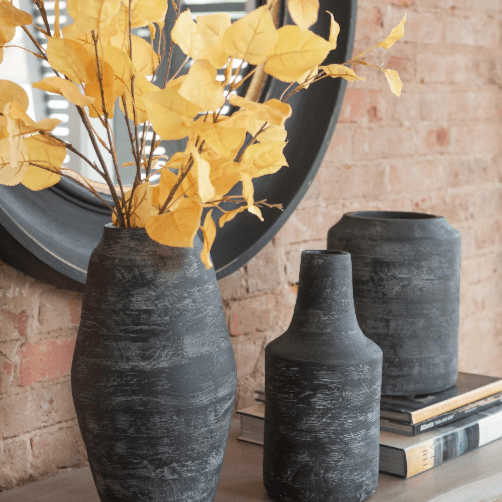 Large Black Charcoal Gray Modern Wood Grain Vase