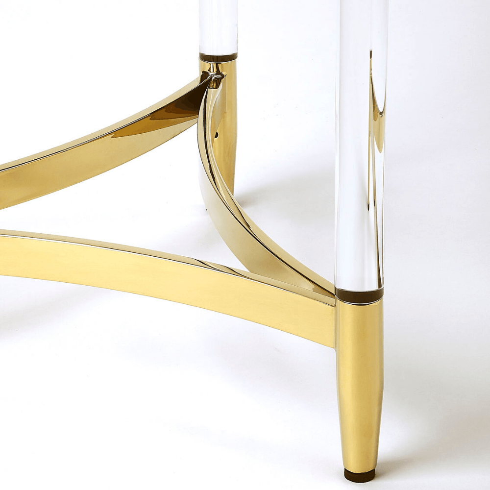 Charla Clear Acrylic End Table with Polished Gold Accents