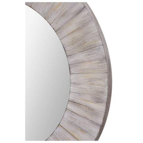 Large Light Whitewashed Wood Round Mirror Simple Rustic Farmhouse Style