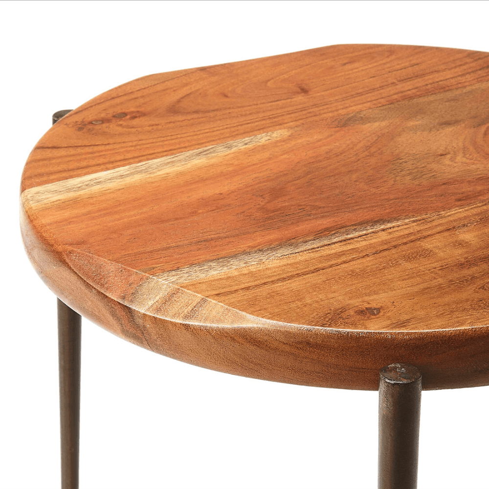 Colden Live Edge Round End Table with Forged Iron Legs