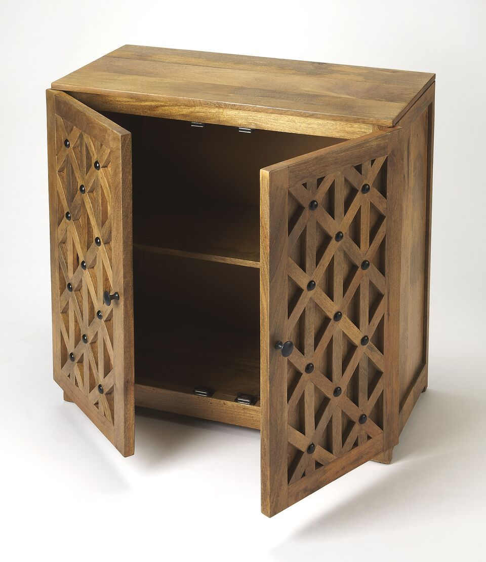 Lattice Design Wood Accent Cabinet