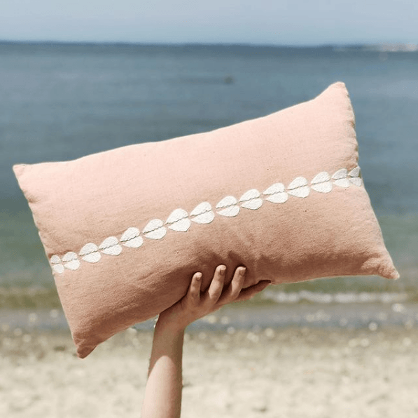 Salmon Linen Lumbar Pillow with White Shell Embroidery