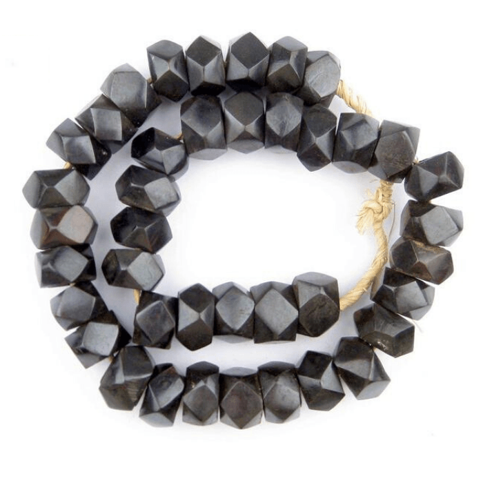 Dark Black/Brown Faceted Decorative African Beads