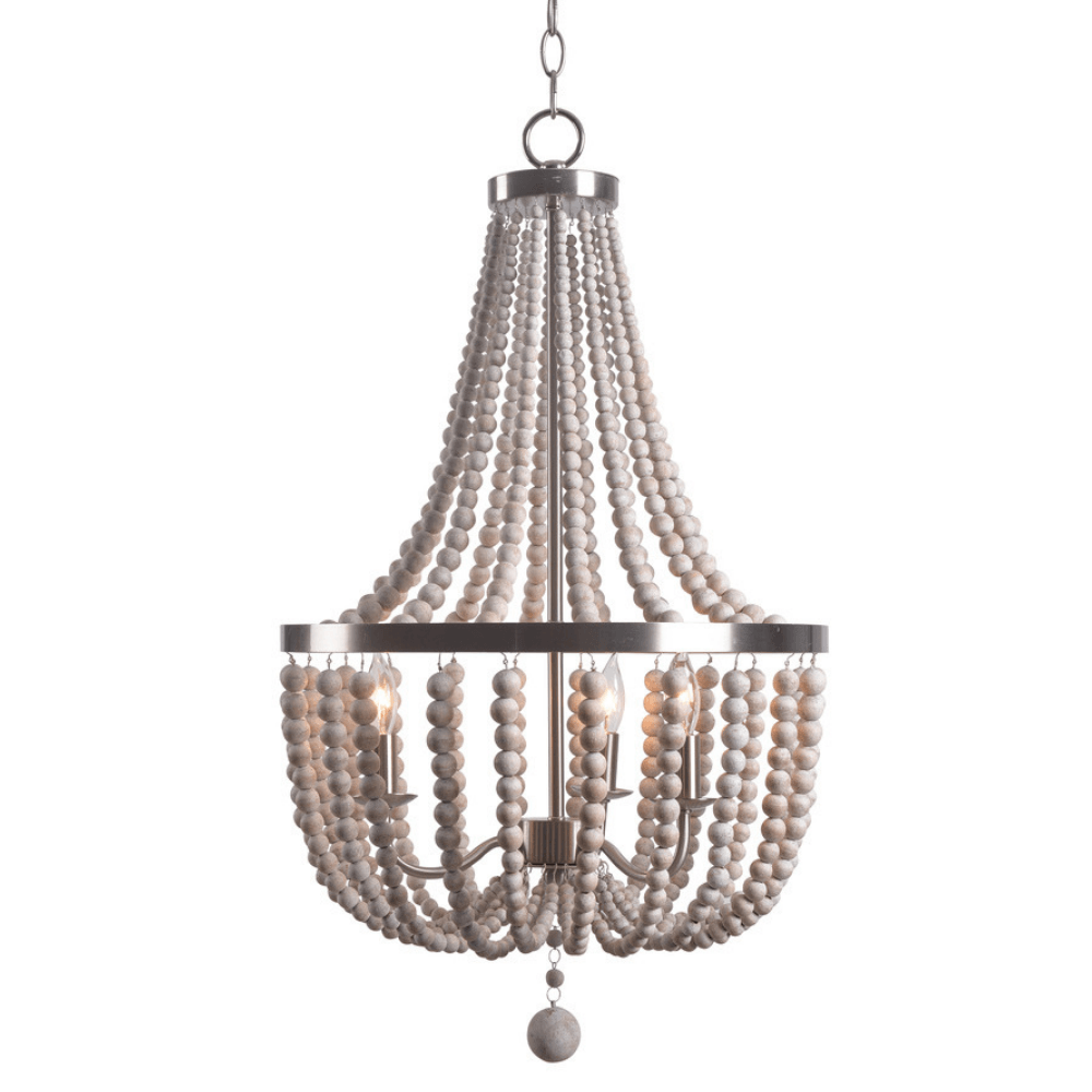 Denver Light Wood Chandelier in Brushed Steel