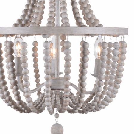 Denver Light Wood Chandelier in White
