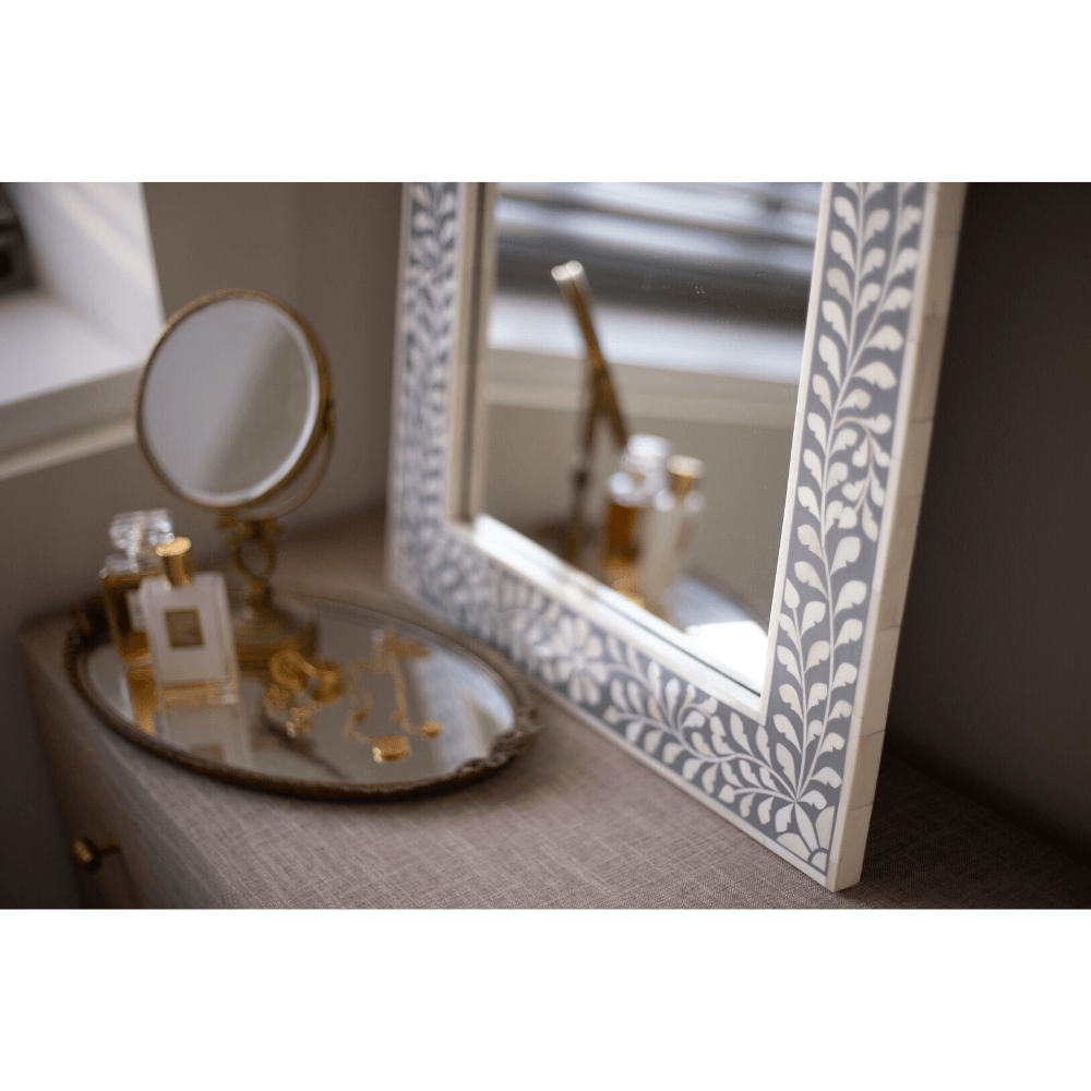 Grey and White Bone Inlay Mirror