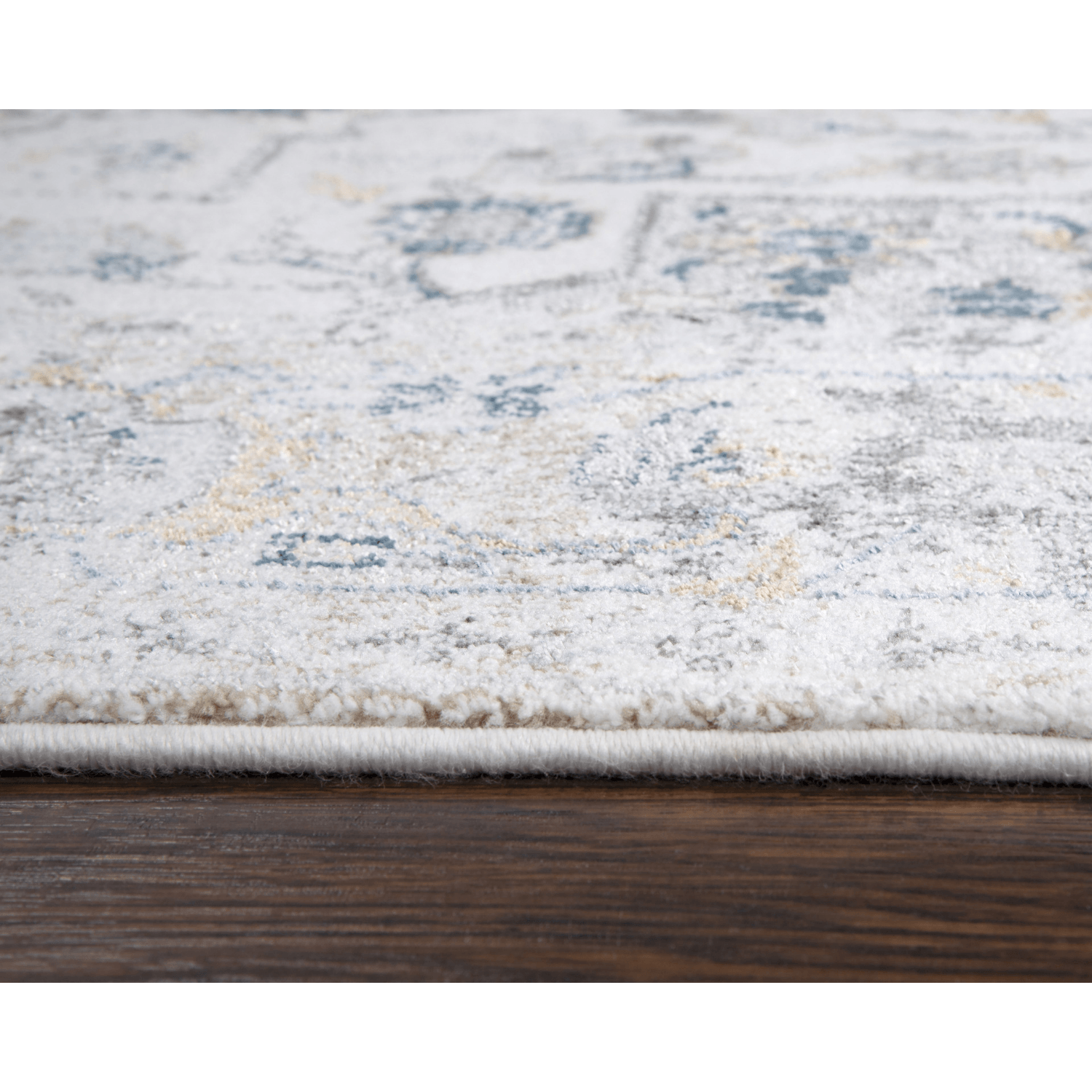 Eisley Gray and Blue Distressed Vintage Style Rug