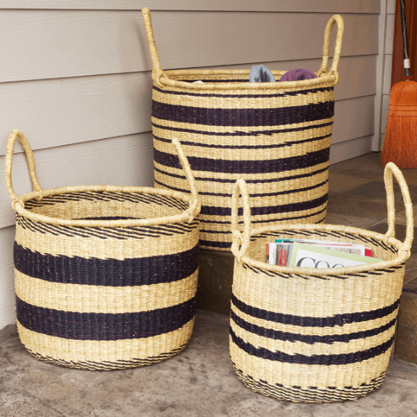 Stripe Baskets Set of 3