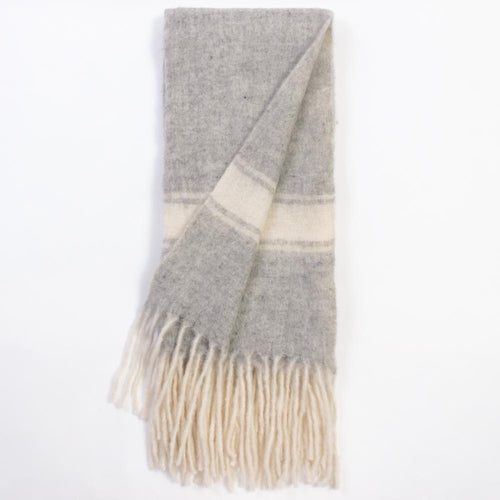 Grey Merino Wool Throw with Stripe