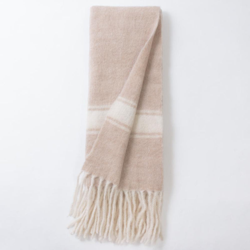 Natural Merino Wool Throw with Stripe