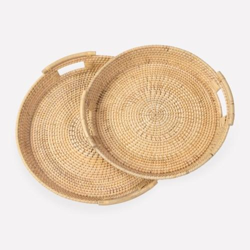Faye Round Woven Rattan Tray in Natural - Set of 2