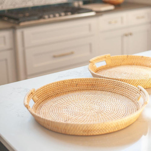 Woven Rattan Serving Trays - Set of 2 in Natural Color
