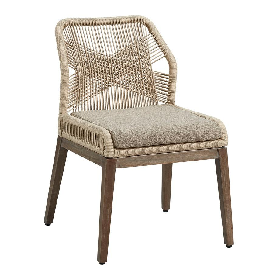 woven Fiddle chair from Furniture Classics in neutral buff rope cord with mahogany wood legs and wrapped aluminum frame