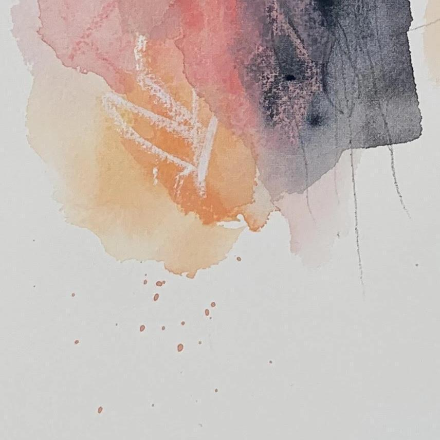 Watercolor Abstract Art Print with Pink and Orange Colors