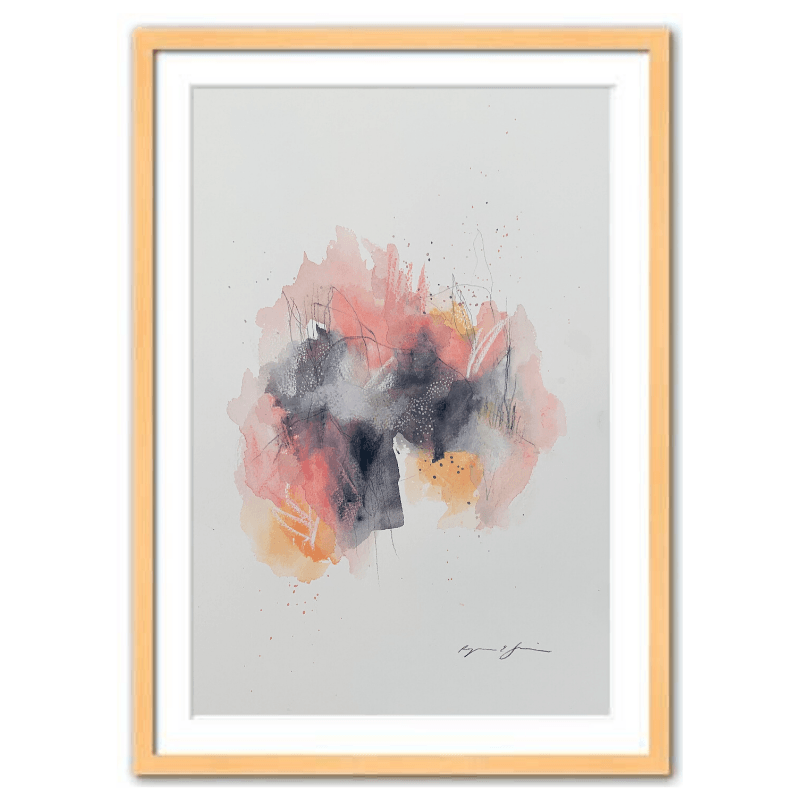 Pink and Orange Watercolor Abstract Art Print with Wood Frame