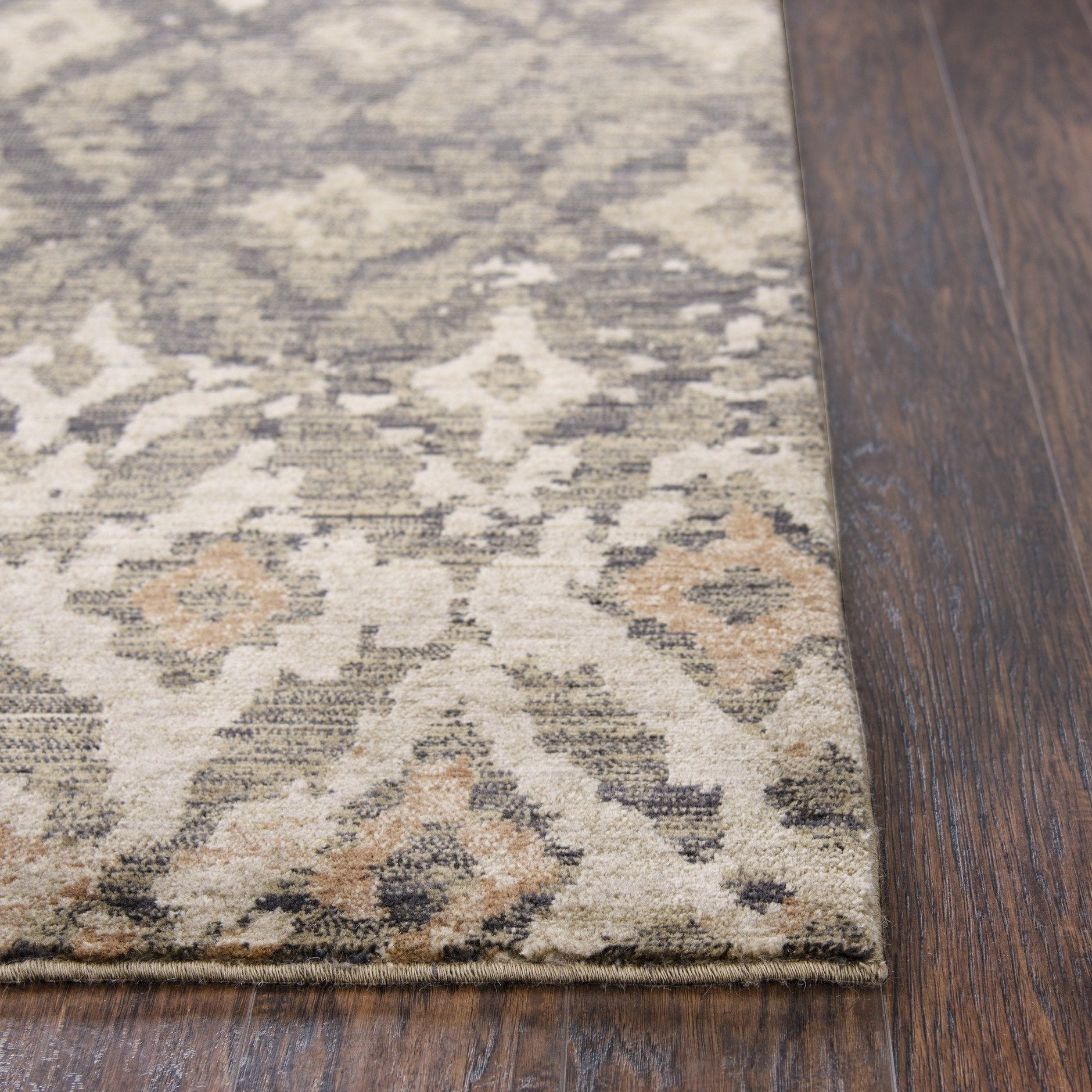 bohemian ikat diamond kitchen runner rug in brown, ivory, gray and rust