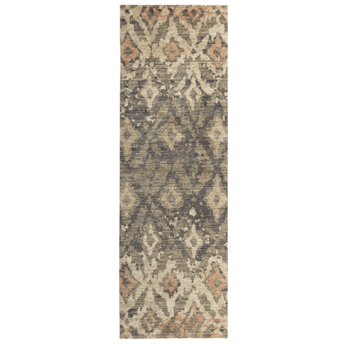 Rizzy Gossamer Ikat diamond rug runner in brown, ivory and rust colors