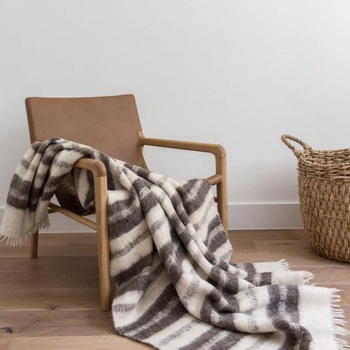 Grey Raya Guatemalan Wool Striped Blanket